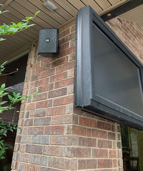 Smart Home Systems Installation outdoor TV and audio. Patio TV is outdoor rated Sunbrite TV and outdoor speakers all by Revel. By Vox Audio Visual Elite Services.