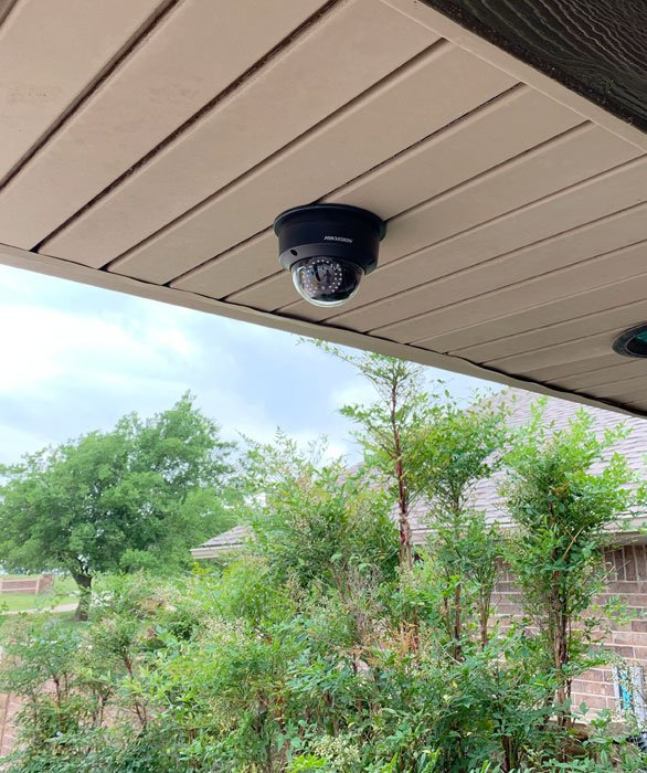 Smart Home Systems installation surveillance cameras. 8 Hikvision Surveillance cameras around the perimeter of the home for security. By Vox Audio Visual Elite Services.